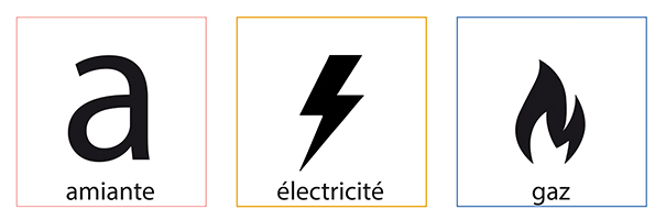 C1 Diag-Icones Diagnostics x3 Amiante-Electricite-Gaz